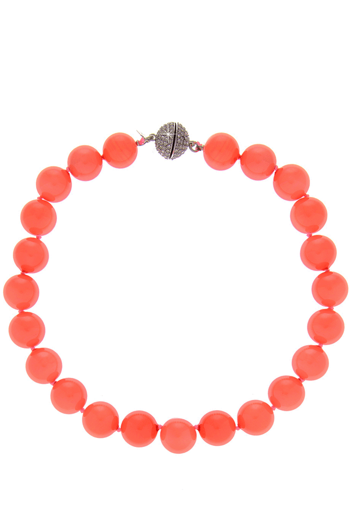 KENNETH JAY LANE CORAL BEADS Crystal Necklace