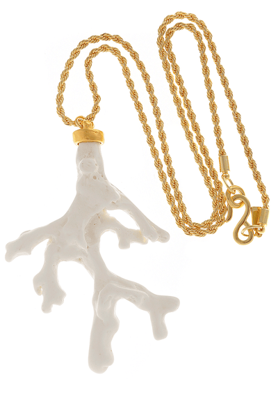 KENNETH JAY LANE CORAL BRANCH White Pendant
