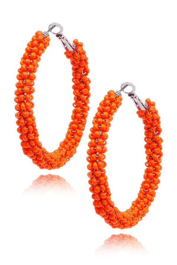 KENNETH JAY LANE - CORAL Beads Hoops - Earrings - Jewelry