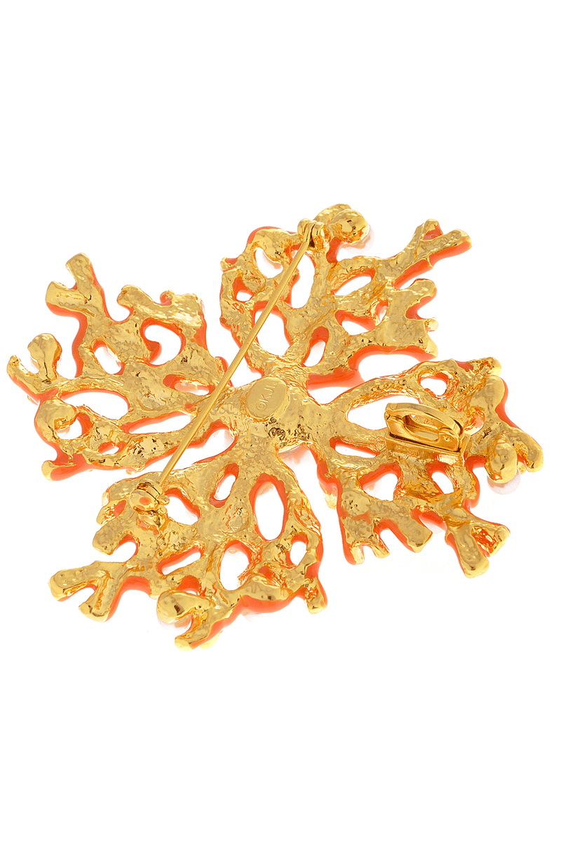 KENNETH JAY LANE CORAL BRANCH Coral Pearl Gold Brooch