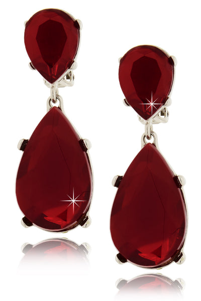 KENNETH JAY LANE CORDELIA Ruby Drop Clip Earrings