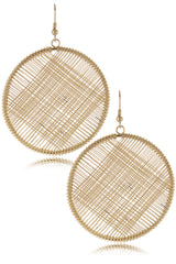 KENNETH JAY LANE CROSSWISE Gold Circle Earrings