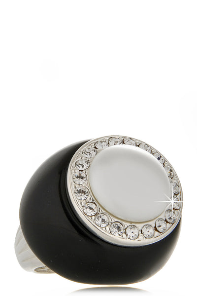 KENNETH JAY LANE CRYSTAL PEARL Black Ring