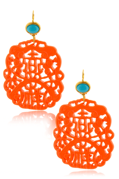 BALI Coral Carved Pierced Earrings