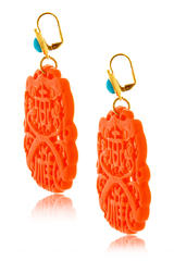 KENNETH JAY LANE BALI Coral Carved Pierced Earrings