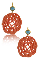 KENNETH JAY LANE ROUND BALI Coral Carved Pierced Earrings