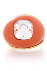 KENNETH JAY LANE Coral Crystal Center Dome Ring