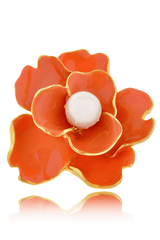 KENNETH JAY LANE FLOWER Coral Large Pearl Ring