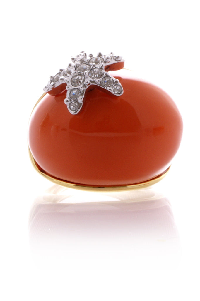 KENNETH JAY LANE Coral Starfish Dome Ring