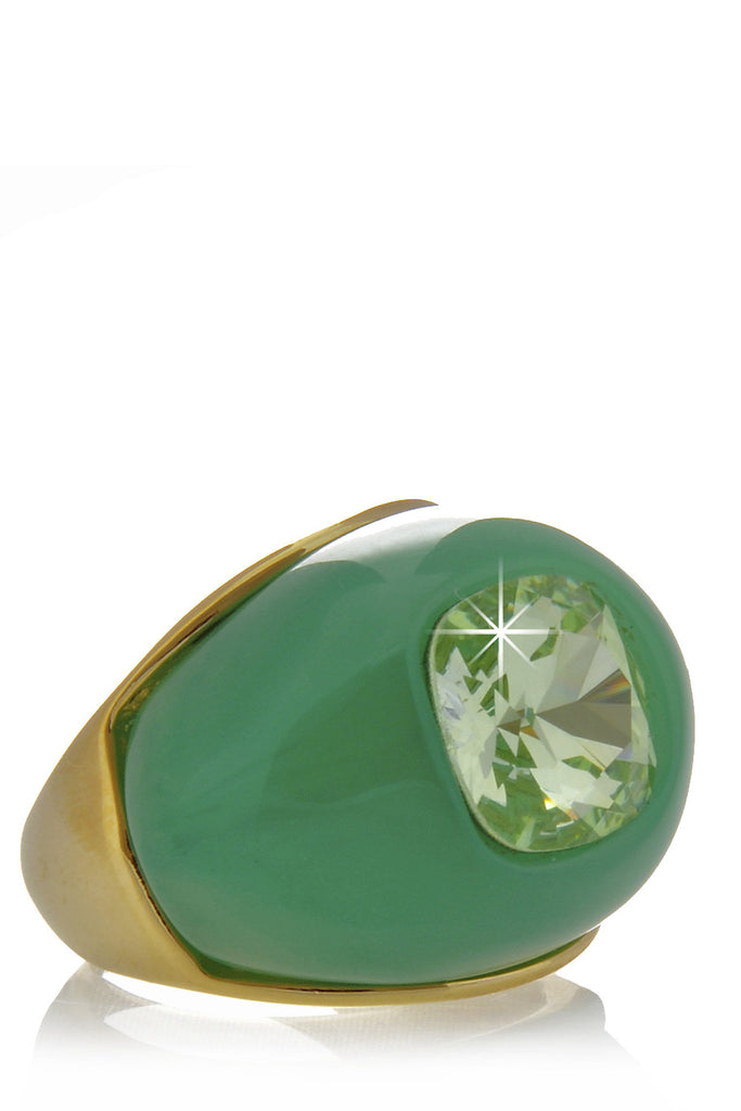 KENNETH JAY LANE DENIA Jade Crystal Dome Ring