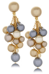 KENNETH JAY LANE - DROP Multi Pearl Clip Earrings Jewelry