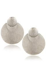 KENNETH JAY LANE ECLIPSE Silver Hammered Earrings