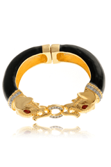 KENNETH JAY LANE ELEPHANTS Black Gold Enamel Bracelet