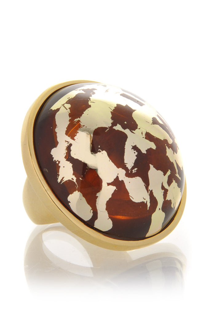 KENNETH JAY LANE ELINA Amber Gold Scraped Button Ring
