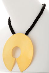 KENNETH JAY LANE ETHNIC Gold Disk Cord Pendant