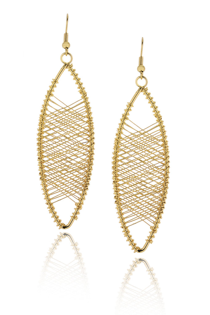 KENNETH JAY LANE FISHTAIL Gold Crossed Earrings