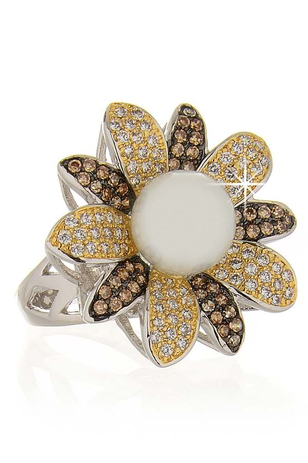 KENNETH JAY LANE FLOWER Silver Bronze Pearl Crystal Cocktail Ring