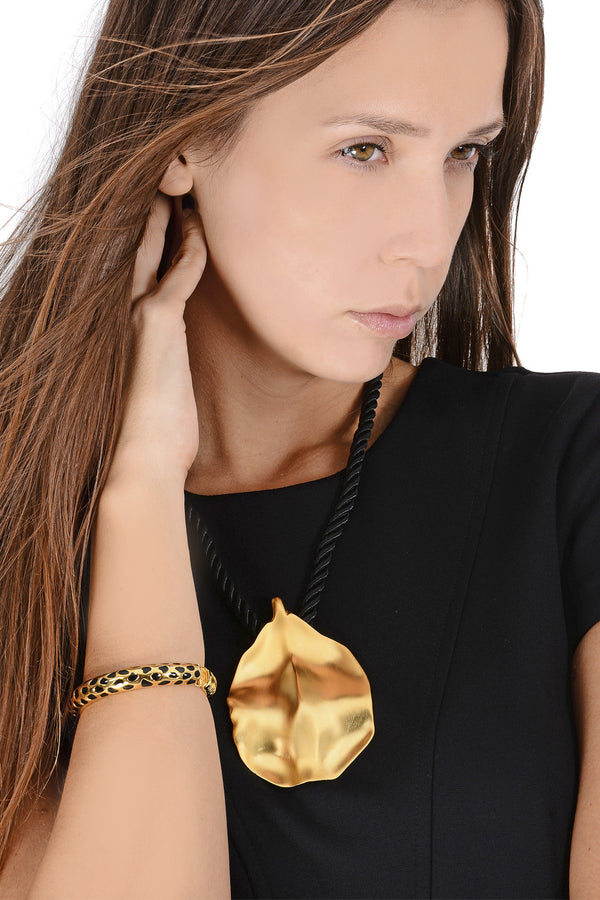 KENNETH JAY LANE GOLD LEAF Black Cord Necklace