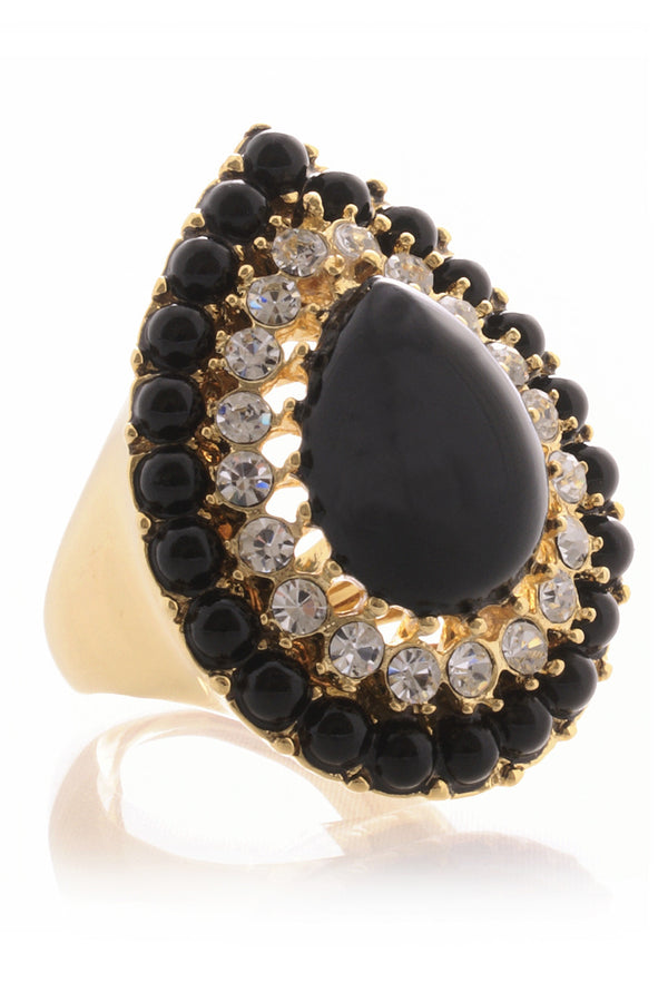 KENNETH JAY LANE GUSTAVA Black Cocktail Ring