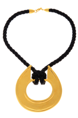 KENNETH JAY LANE Gold Disk Cord Pendant