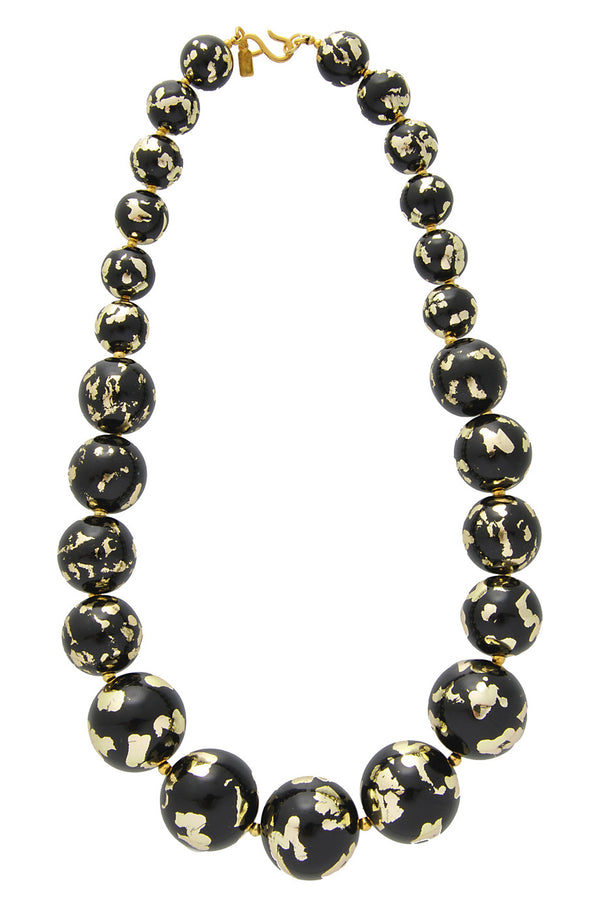 KENNETH JAY LANE Gold Scraped Large Beads Necklace