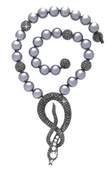 KENNETH JAY LANE COBRA Gray Pearl Necklace