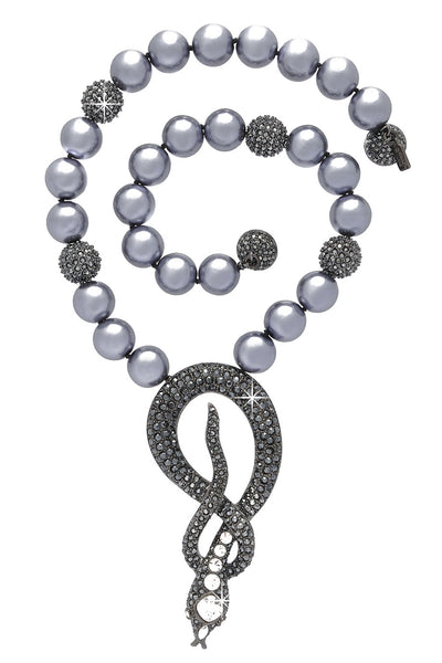 Gray Pearl Cobra Necklace