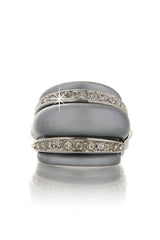 KENNETH JAY LANE Gray Pearl Double Crystal Ring