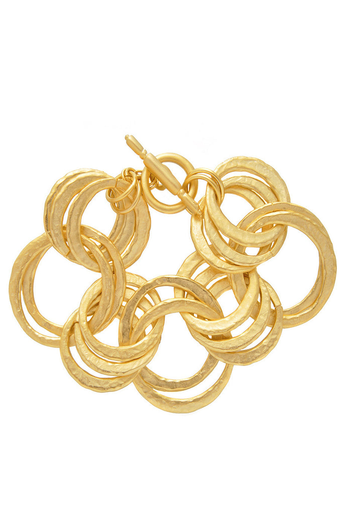 KENNETH JAY LANE HAMMERED Gold Links Bracelet