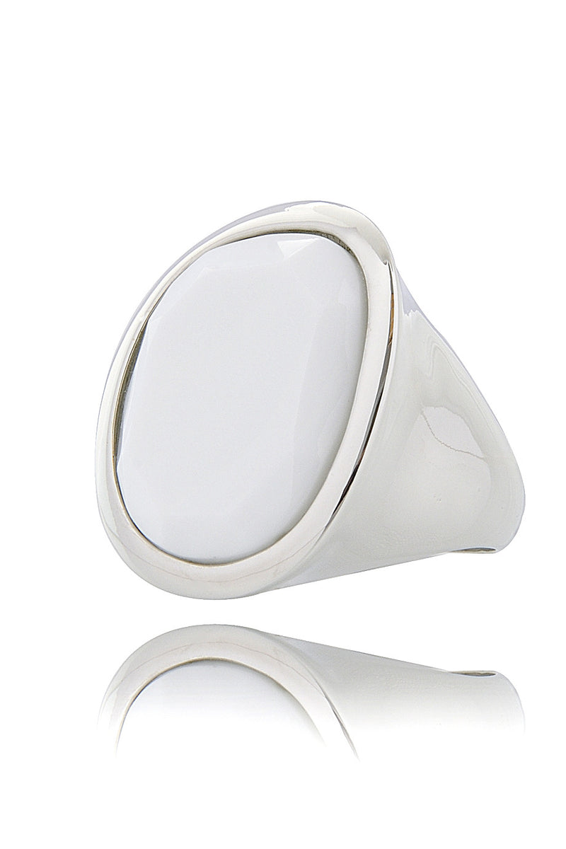 KENNETH JAY LANE HARRIET Round Silver Cocktail Ring
