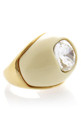 KENNETH JAY LANE Ivory Crystal Dome Ring