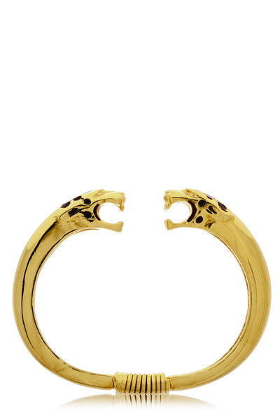 KENNETH JAY LANE JAGUAR HEADS Gold Bracelet