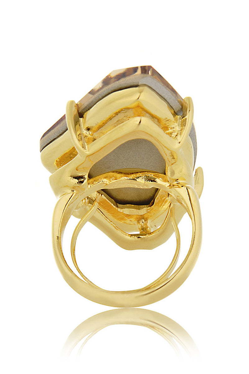 KENNETH JAY LANE JOSEPHINE Hexagonal Citrine Crystal Ring