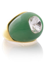 KENNETH JAY LANE Jade Crystal Center Dome Ring