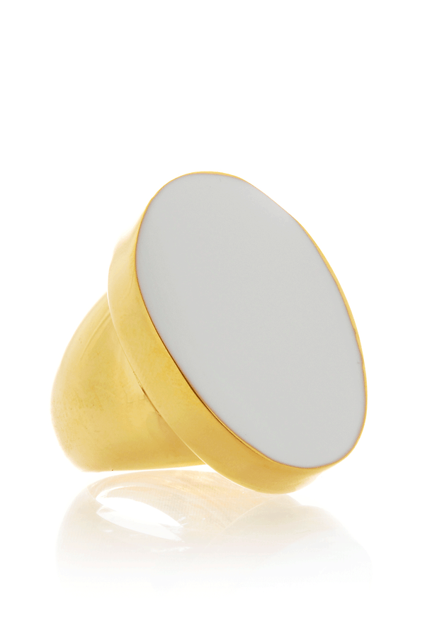KENNETH JAY LANE KLARA White Enamel Ring