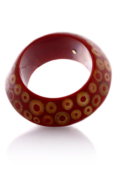 KENNETH JAY LANE Large Coral Tan Spots Bangle
