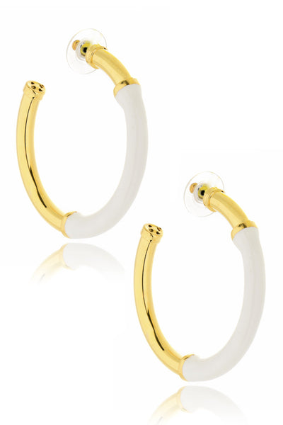 KENNETH JAY LANE MAIGA White Hoop Earrings