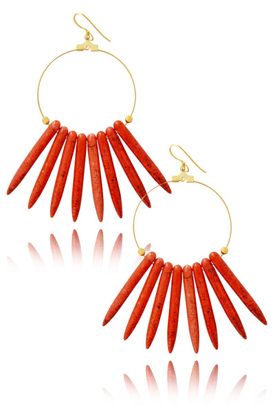 KENNETH JAY LANE MAJESTIC Dark Coral Stick Earrings