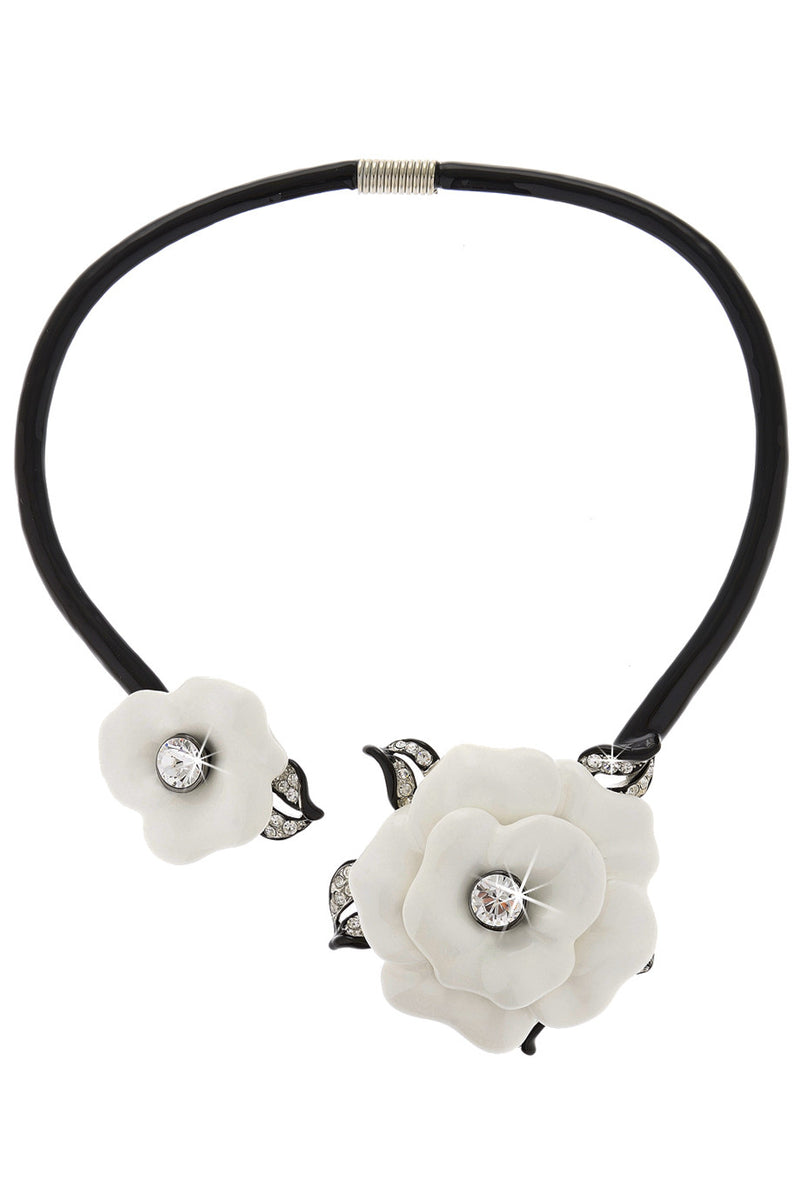 KENNETH JAY LANE - MARENA Floral Black White Necklace | Jewelry
