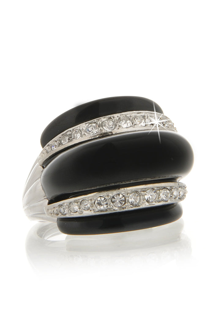 KENNETH JAY LANE MASELINA Black Crystal Ring