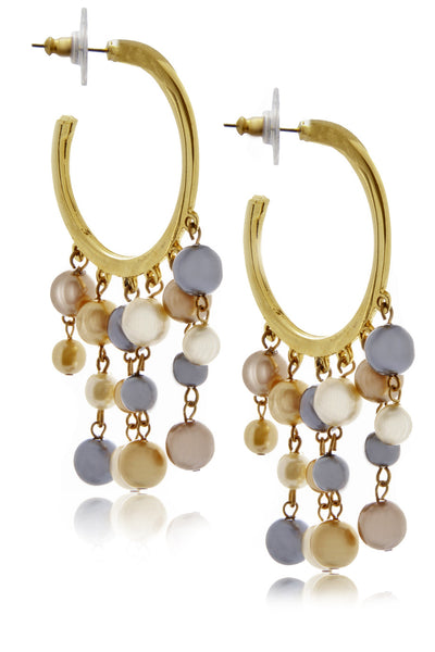 Kenneth Jay Lane Multi Pearl Hoops