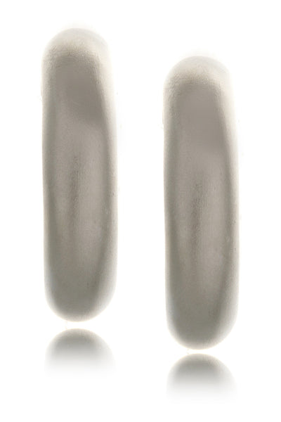 KENNETH JAY LANE Matte Silver Earrings Hoops