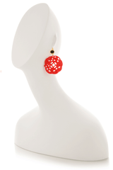KENNETH JAY LANE Red Carved Wire Earrings