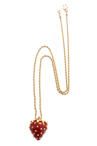 KENNETH JAY LANE Red Strawberry Pendant