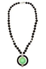 KENNETH JAY LANE SATURN Jade Black Beaded Crystal Pendant