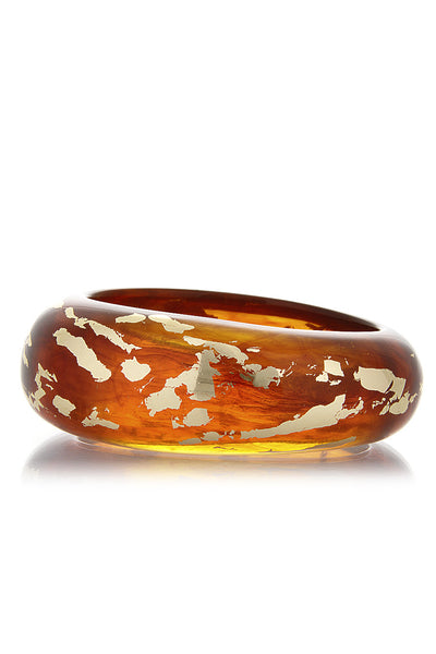 KENNETH JAY LANE SCRAPED Tortoise Gold Bangle