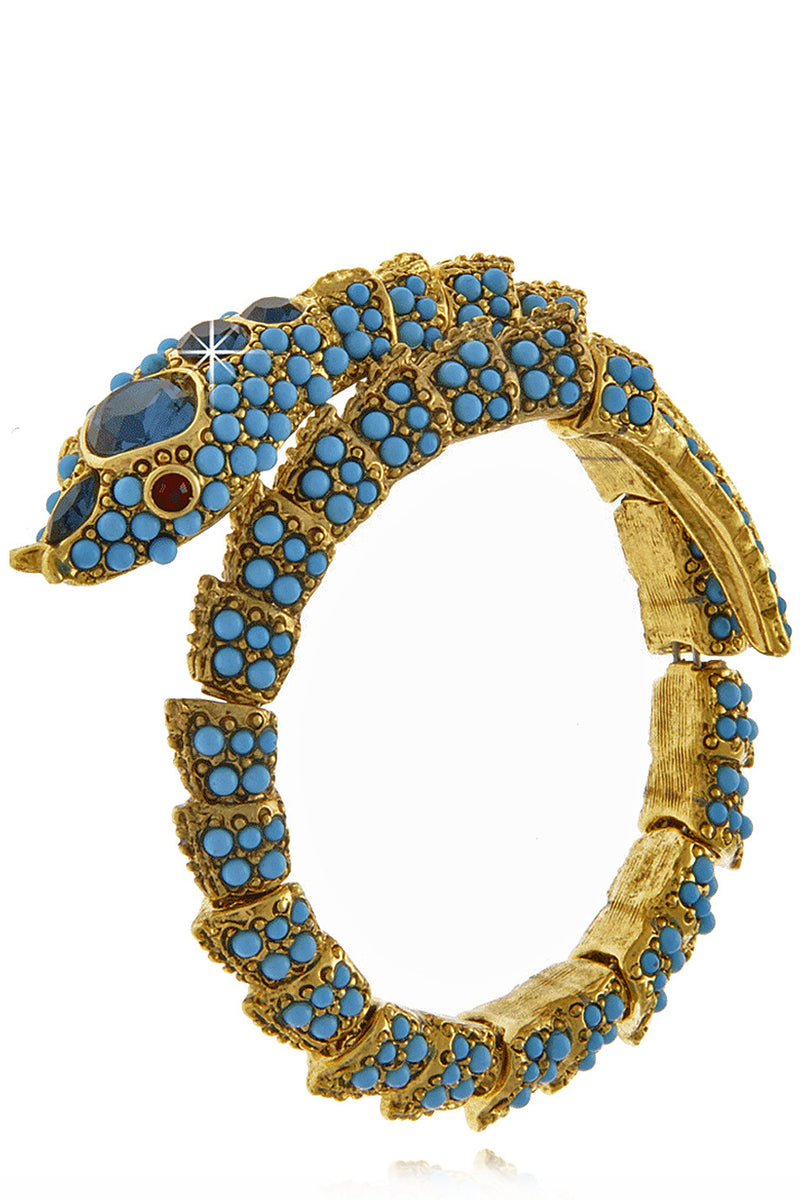 KENNETH JAY LANE SERPENT Turquoise Crystal Bracelet
