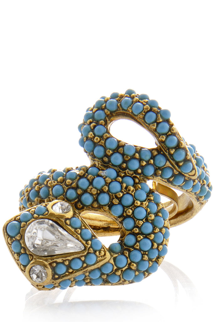 KENNETH JAY LANE - SERPENT Blue Crystal Ring - Women Jewelry