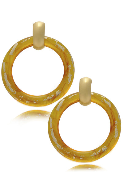 KENNETH JAY LANE SHALLY Gold Scraped Tortoise Earrings