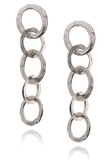 KENNETH JAY LANE SILVER Chain Hammered Earrings